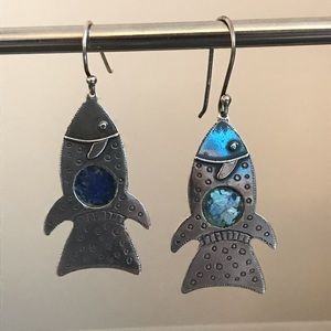 Silver Fish Earrings w/ Ancient Roman Glass Inlay